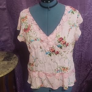 Allison Taylor Pink floral Sheer top XL